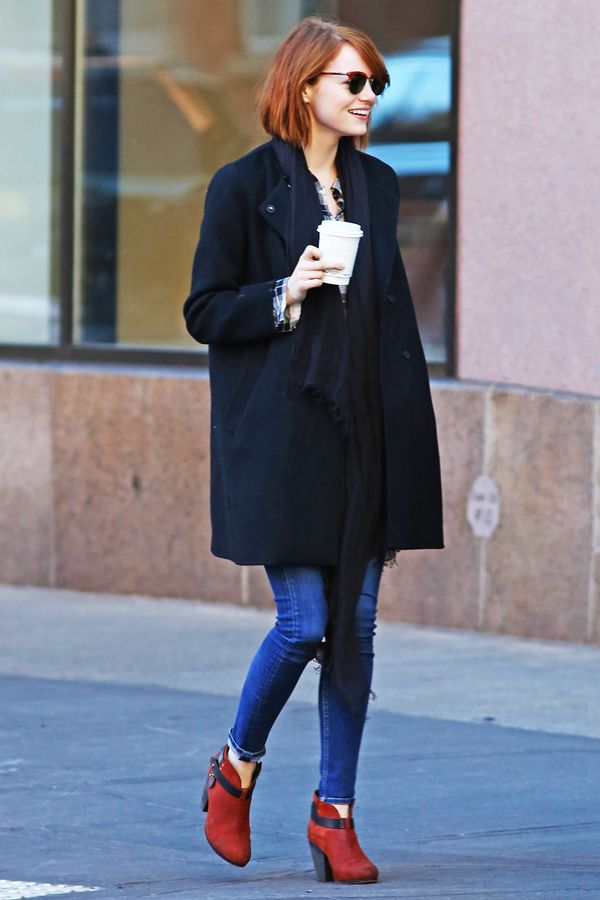 Give Your Black Booties A Break & Embrace The Unexpected Like Emma Stone #refinery29 http://www.refinery29.com/emma-stone-oxblood-booties#slide1 Emma Stone is so pleased with her outfit, she's happy to see the paparazzi. (We would be, too.)
