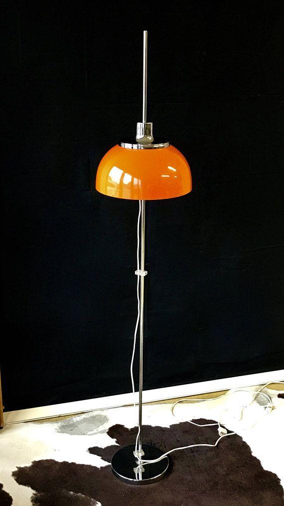 Harvey Guzzini Vloer Lamp Jaren 70 Met Oranje Kunsstof Kap Italian Floor Lamp Vintage Lamps Lamp