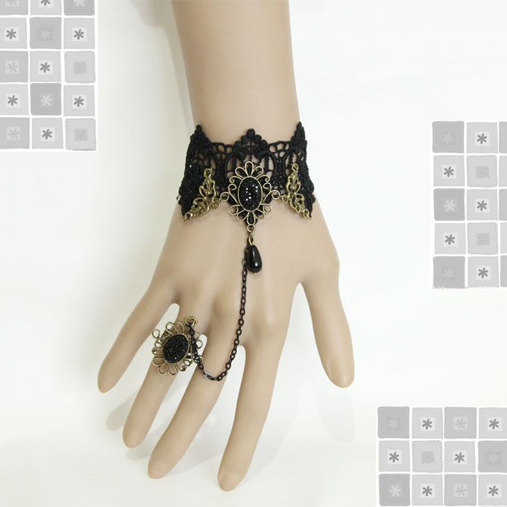 Принцесса готическая лолита браслет Косплей мода винтаж черное кружево браслет с черный кристалл ер ен ос набор классический браслет