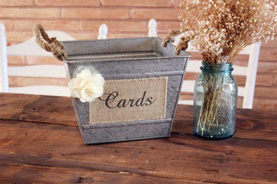 southern metal wedding cards box . tin rusty burlap cards box . counrty farm program holder . favors / bubbles storage bin
