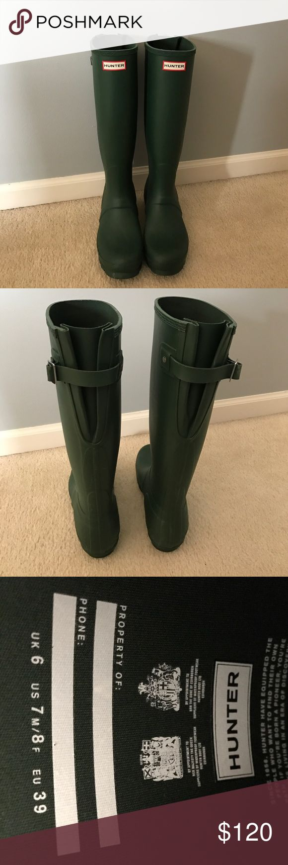 "Hunter Boots Original Adjustable Back Boots Women's Hunter Boots Original Adjustable Back Snow Rain Water Boots Unisex - Green - 8. Excellent condition- pretty much new. Worn once or twice but my feet grew with pregnancy                                        Rubber Rubber sole Shaft measures approximately 16"" from arch Hunter Original Adjustable Back Hunter Branding On Front Hunter Boots Shoes Winter & Rain Boots"