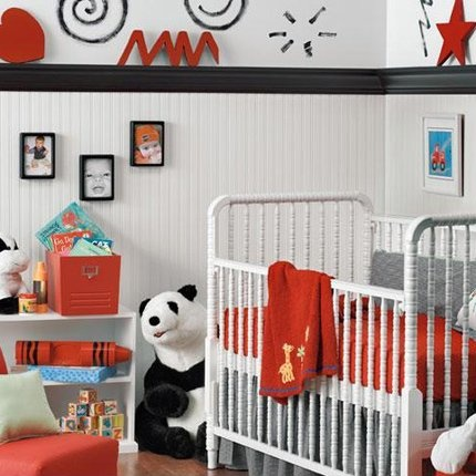 black, red and white  For Kae'Lynn's room: make black border a cherry wood border instead. find red pieces to sit on top of it.  perhaps red blocks or letters that spell her name