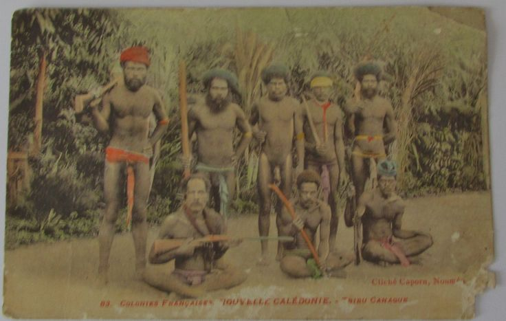 Cliché Capon , Noumea , an old interesting Pacific native group , early 20th century card