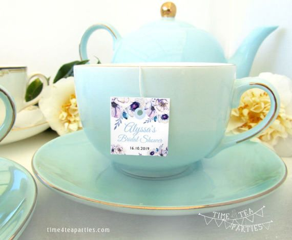 Lilac Floral Tea Bag Tags  Bridal Tea  Baby by Time4TeaParties