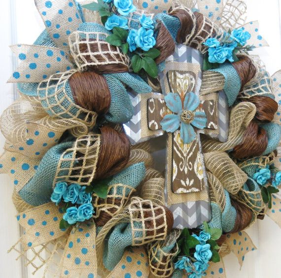 Cross Wreath Teal and Burlap Cross Wreath Deco by PinkBluebonnet