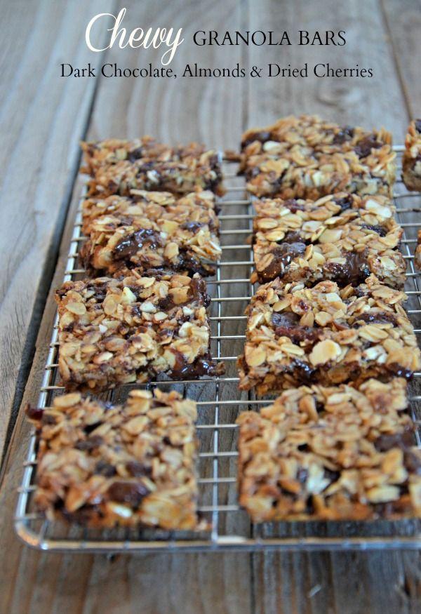 Chewy Granola Bars with Dark Chocolate, dried Cherries & Almonds | mountainmamacooks.com
