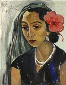 Woman with a Hibiscus. Irma Stern