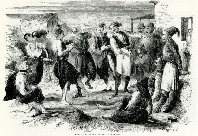 """Greek fishermen dancing the """"Romaika""""dance. - Λεύκωμα 1842 – 1885 - TRAVELLERS' VIEWS - Places – Monuments – People Southeastern Europe – Eastern Mediterranean – Greece – Asia Minor – Southern Italy, 15th -20th century"""