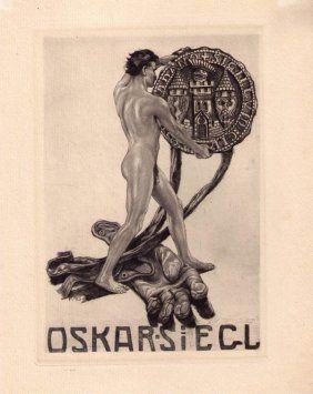 Bookplate by Alois Kolb for Oskar Siegl, c.1903