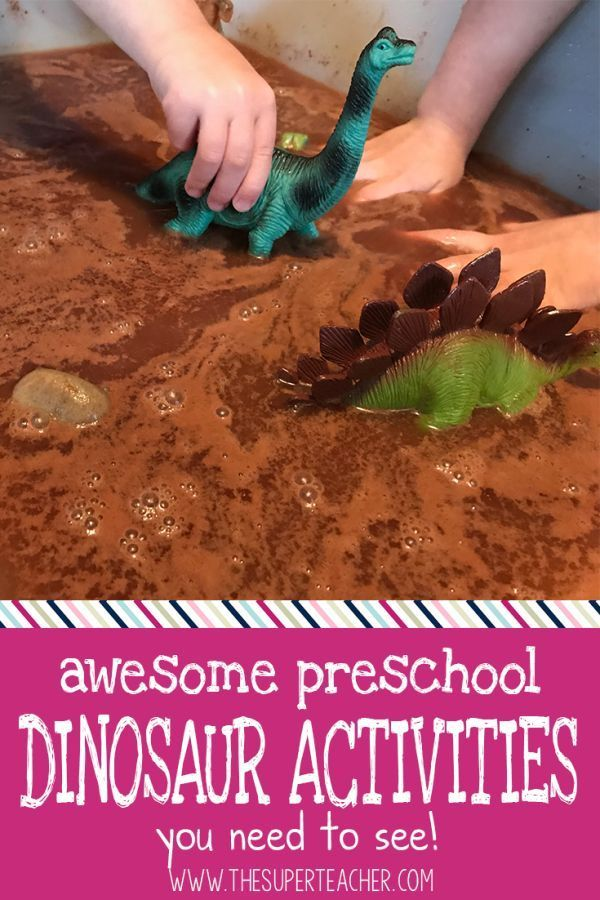 Here are some awesome dinosaur activities for preschool! My kids had a blast with this dinosaur sensory bin. We even learned about sizes, colors, matter, and more with these preschool activities. Click here to find a ton of ideas for dinosaur week in prek or kindergarten!