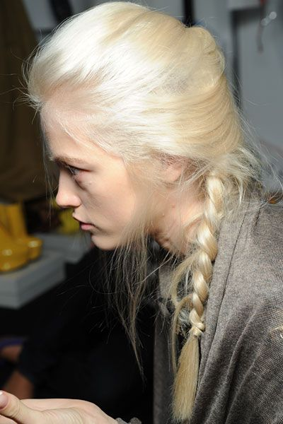 Platinum Hair in a french braid