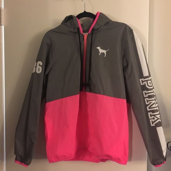 VS Pink Anorak Windbreaker XS (Victoria's Secret) Jacket runs big. I bought it on Poshmark, the seller said she only wore it once. The condition is good except the zipper looks a bit dirty - I'll try to clean it before shipping. Cute jacket but I didn't like the fit on me. NO TRADES. PINK Victoria's Secret Jackets & Coats