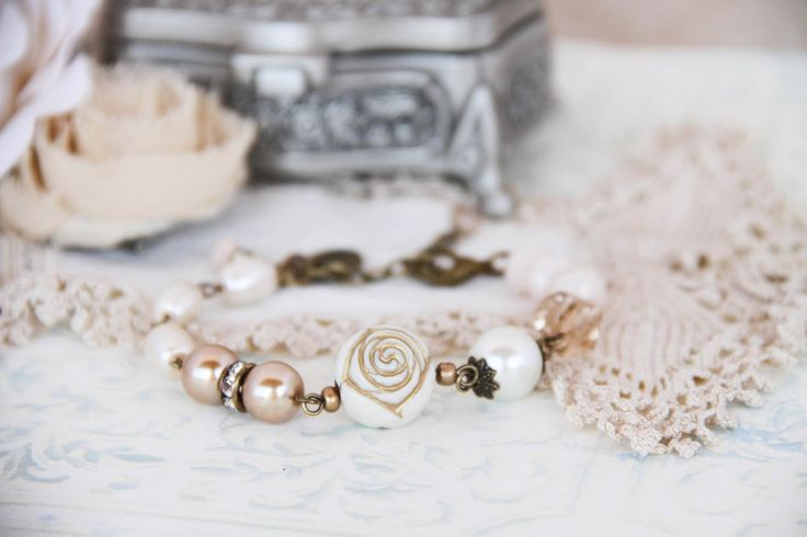 Creamy gold rose and pearls vintage style bracelet by Heart Jewelry Creations