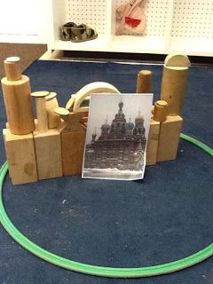Block activity.  Cards with castles, buildings and bridges