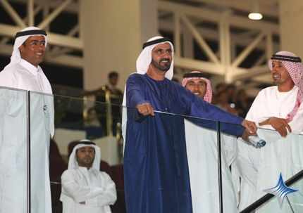 UAE Vice President, Prime Minister and Ruler of Dubai His Highness Sheikh Mohammed bin Rashid Al Maktoum attended a race meeting at Nad Al Sheba Racecourse today.  Sheikh Mohammed looked on as Ahmed Ajtebi, who recently became the UAE's first professional jockey, rode his first winner to start the New Year on a high note.