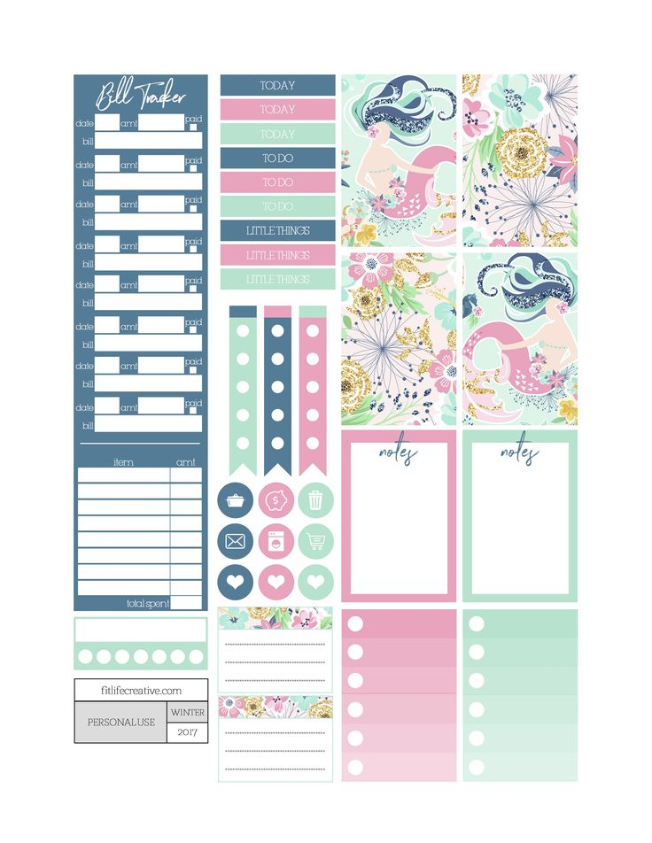 Free Printable Dancing with Mermaids Planner Stickers from Fit Life Creative