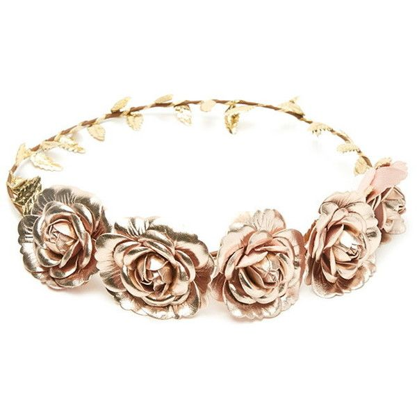 Forever 21 Metallic Flower Crown ($5.90) ❤ liked on Polyvore featuring accessories, hair accessories, jewelry, hats, crowns, artificial flower garland, leaf headband, floral crown, headband hair accessories and fake flower garland