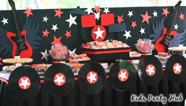 Rock and Roll Themed Dessert Table