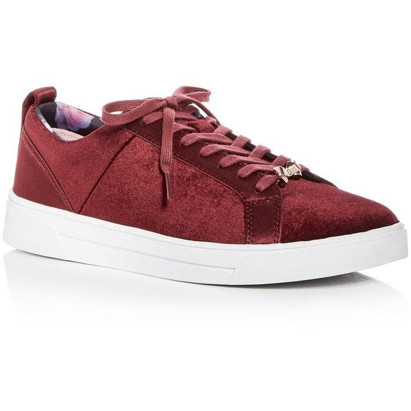 Ted Baker Women's Kuleib Velvet & Satin Lace Up Sneakers ($150) ❤ liked on Polyvore featuring shoes, sneakers, burgundy, laced up shoes, laced sneakers, ted baker trainers, burgundy shoes and velvet sneakers