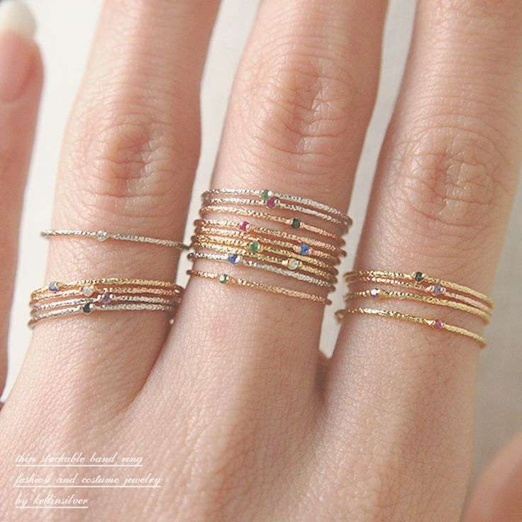 Color Stone Textured Tin Rings Gold Set of 6 - kellinsilver.com