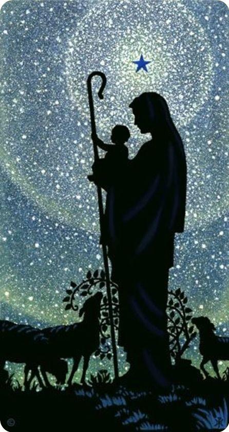 Maria met kindje Jezus en schapen..