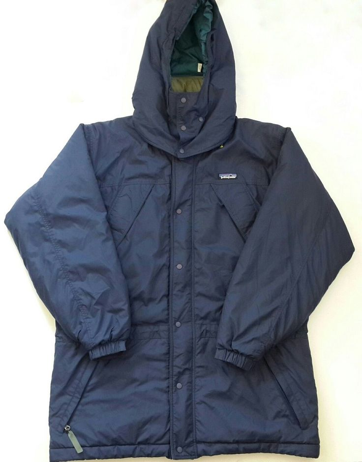 Patagonia Jacket Women's Thermal Insulated Small S Removable Hooded Navy Blue