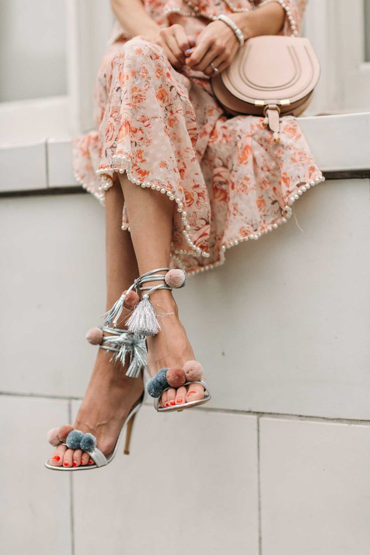 HelloFashionBlog: Silver Pom Pom Sandals For Spring. Obsessed.