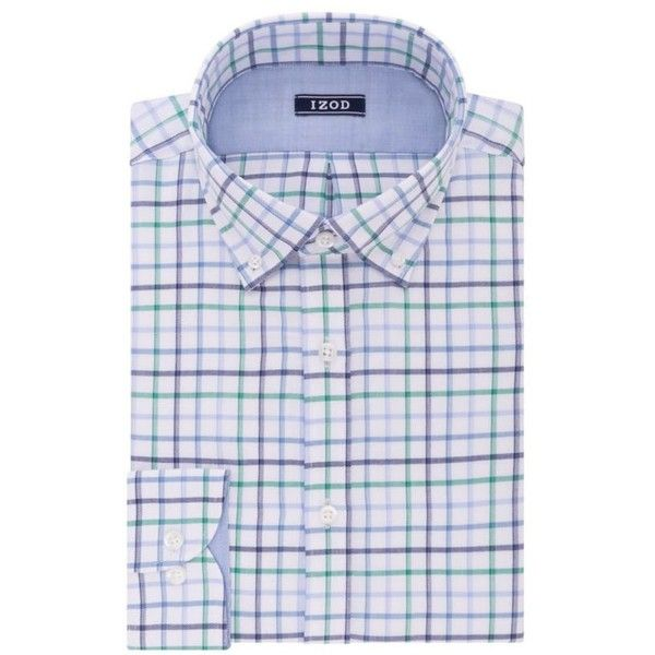Izod  Performx Slim Fit Dress Shirt ($30) ❤ liked on Polyvore featuring men's fashion, men's clothing, men's shirts, men's dress shirts, green frost, mens slim fit shirts, mens green shirt, men's non iron dress shirts, mens slim fit non iron dress shirts and mens button down dress shirts