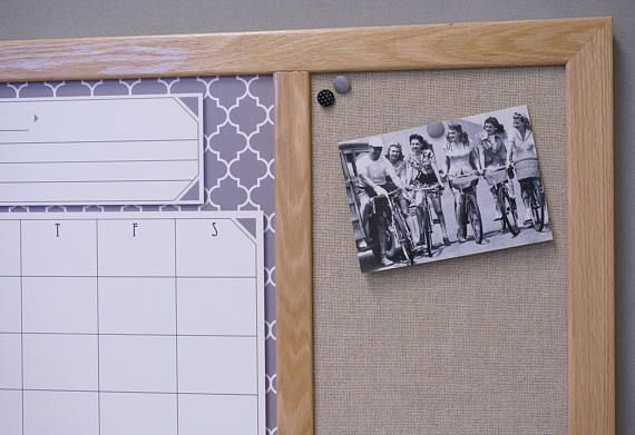 Gray Moroccan Tile Calendar White Board with Burlap Fabric Pin Board. Fabric is 100% post-consumer recycled and proudly woven in the USA supporting local communities.