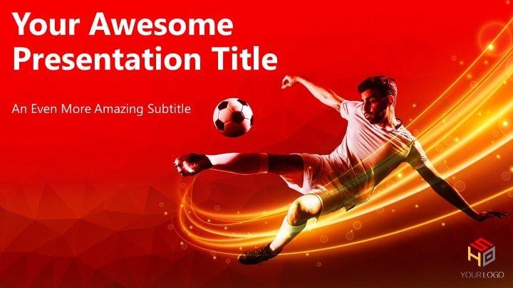 Soccer Modern Powerpoint Template Red Version Soccer Players