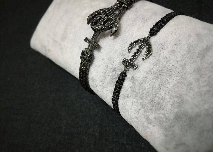 """Week of B L A C K F R I D A Y"" #Anchor with Black Diamonds combined and black hand knotted ribbon #blackfriday #jewels #handcrafted #worldwideship @classycor"
