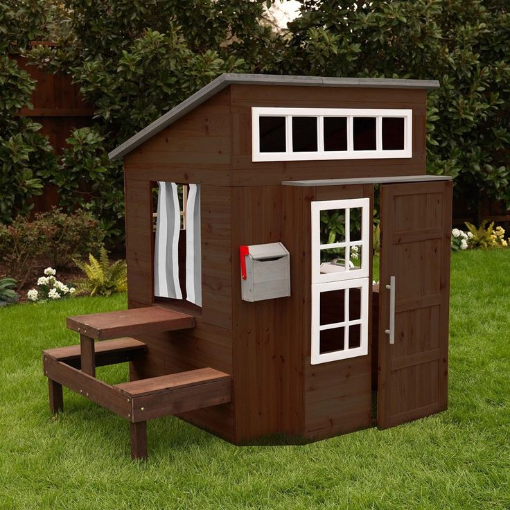 They have their own cabin! The Modern Outdoor Playhouse is a ton of fun, allowing kids to explore a whole new world without leaving the backyard. It has a hip, one-of-a-kind design and plenty of extra