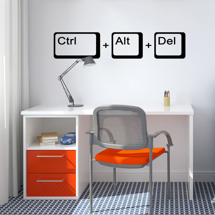 details about ctrl alt del wall sticker geek wall sticker home diy home decor and furniture. Black Bedroom Furniture Sets. Home Design Ideas