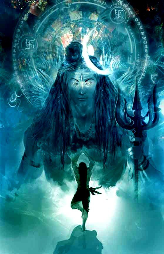 COOL SHIVA HEAD AND MOON AND THE SHPE OF THE TRIDENT BLADES IS COOL AS IT HAS 5 TOTAL W 2 SMALLER ONES INSIDE CENTER. MOON IS ALWAYS CONNECTED TO THE HAIR.  IF WE GO WITH THE SHIVA HEAD AND FACE I LIKE THIS LOOK EXCEPT THE TRIDENT BLADED ARE IN THE CENTER FRONT.