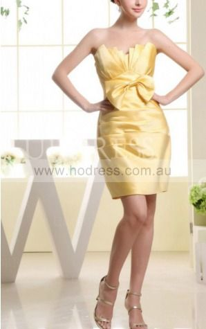 Sheath Sweetheart Knee-length Satin Natural Formal Dresses gt3455