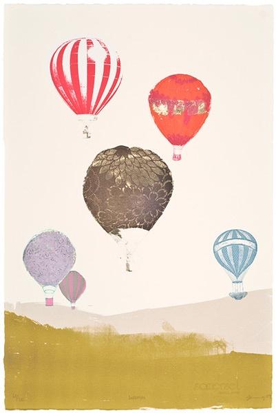 Freya Cumming screen print: Balloons Illustrations, Art Prints Paper Goods, Inspiration Crafts, Air Balloon, Freyacumming, Prints Illustrations, Painting, Freya Cumming