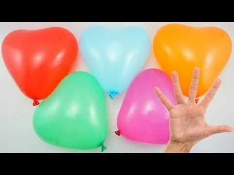 Water Heart Balloons collection Learn Colours Wet Balloon Finger Nursery Rhymes Finger Family Song