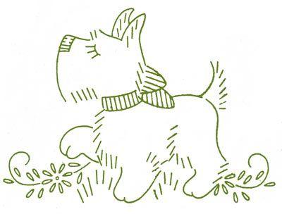 Desenho para bordado - scotch terrier