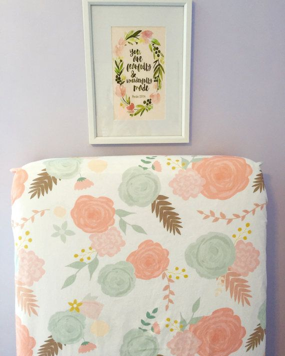 Fitted crib sheet summer blooms flower floral nursery coral peach mint teal retro