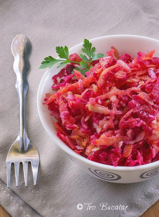 Salata de sfecla rosie cu morcov si mar