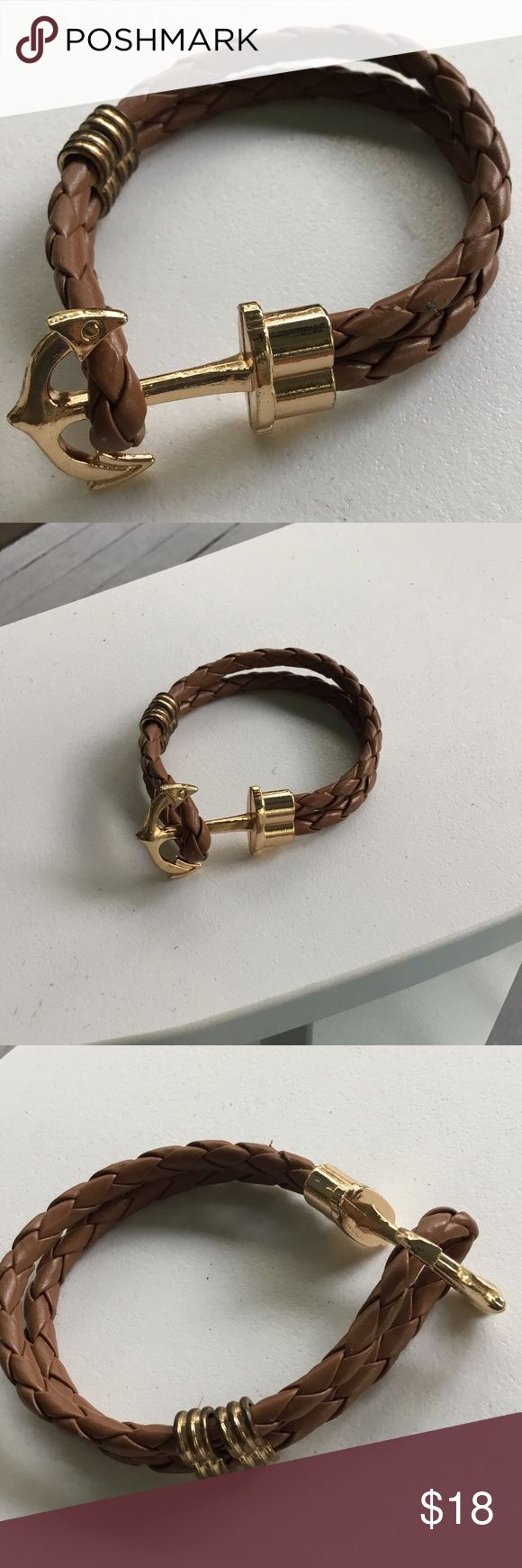 Anchor Bracelet Camel colored woven bracelet with gold anchor closure. Great for men or women. Brand new, never worn. Anchored Jewelry Bracelets