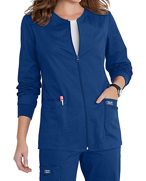 LIGHT AS A FEATHER  When you wear this lightweight scrub jacket from Cherokee Workwear, you look professional and feel outstanding.  It's constructed with princess seams for a feminine and flattering cut, and a front zipper closure keeps the design neat and simple. You can stash all your work tools close at hand in two roomy patch pockets.    Cherokee Workwear Core Stretch Zip Front Warm Up Scrub Jackets  Zip front scrub jacket  I.D. loop  Knit cuffs  55% cotton/ 42% polyester/ ...
