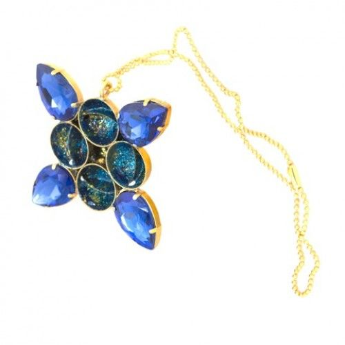 """Satellite"" pendant, the ""Universe"" collection, goldplated copper alloy, hand painted in high gloss polymer finish with blue Swarovski crystals"