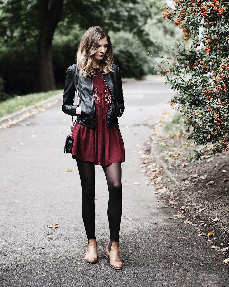 Fall outfit  | autumn, ootd, fashion, burgundy, Zara dress