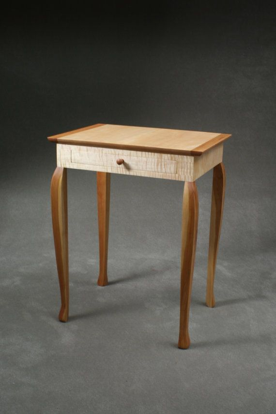 Curly Maple And Cherry End Table With Drawer