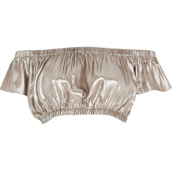 River Island Silver ruched bardot crop top (33 AUD) ❤ liked on Polyvore featuring tops, shirts, crop tops, river island, sale, silver shirt, silver metallic top, brown shirt, brown tops and holiday tops
