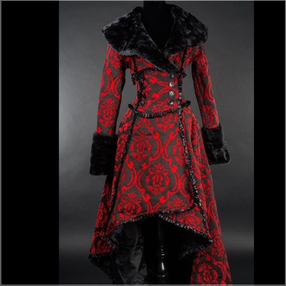 COMING SOON  BLOOD RED GOTHIC COAT NEW Stunning and weighs about 4 pounds! Coming soon. I will only have this one size L/XL. I should have it within 3 weeks from 3/8/2016. If you would like me to tag you once it is in let me know. A rich, red and black cotton jacquard that we custom made. It is made in two layers, the first layer has a slightly velvety look, the black is woven over the red base material to create a super thick heavy brocade fabric with red details.  Bust 40 inches Waist 37…
