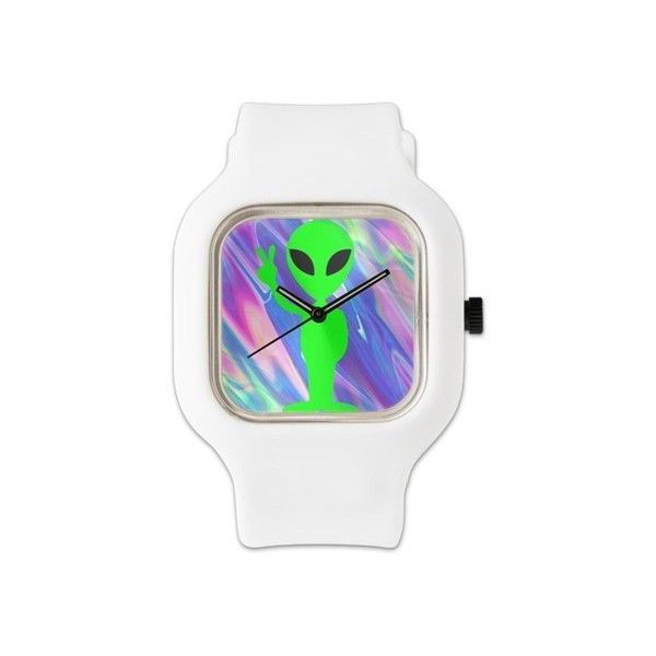 alien hologram Watch ($65) ❤ liked on Polyvore featuring jewelry, watches, emoji, cocktail jewelry, holographic jewelry, dial watches, holiday watches and stainless steel jewellery