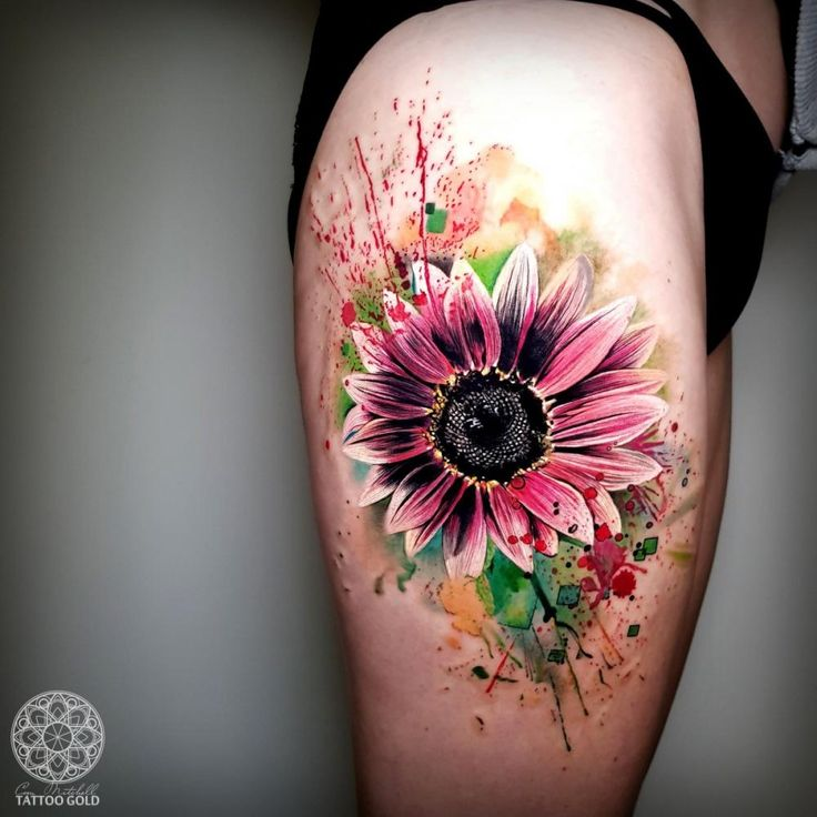 Intriguing Floral Tattoo On Guy's Arm in 2020 | Sunflower tattoo shoulder, Colorful sunflower tattoo, Sunflower tattoos