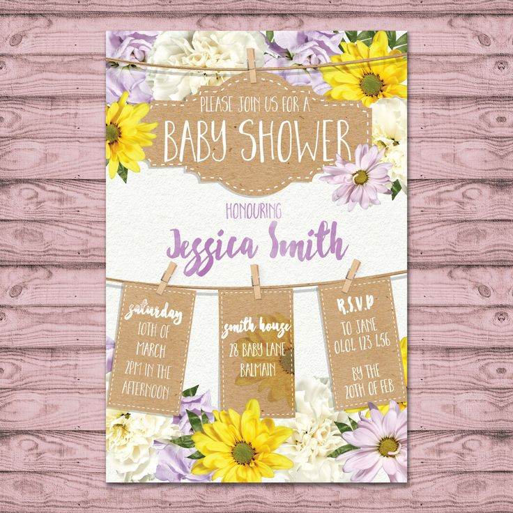 Floral Baby Shower Invitation - Print At Home File or Printed Invitations -  Personalised Baby Girl Baby Shower Invite by PaperCrushAus on Etsy